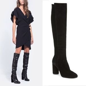 New STUART WEITZMAN Black Suede Knee High Boot 8.5